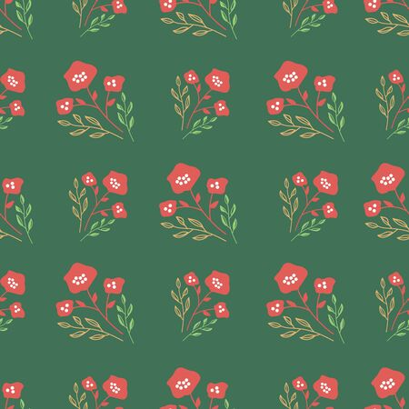Stylized red flowers on forest green background. Sketched design great for textiles,garden products, home decor. Seamless pattern