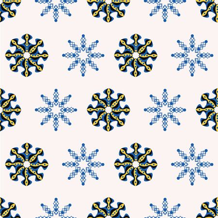 Red and beige Christmas snowflakes on blue background seamless pattern. Vector Illustratie