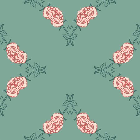 Retro stylized roses on green background seamless pattern. Modern design great for invitations, fabric, wallpaper, giftwrap. Surface pattern design.