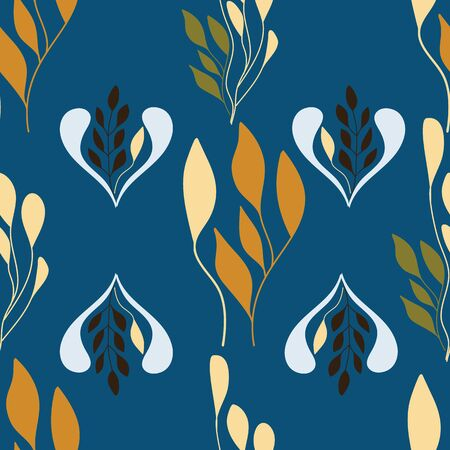 Folk leaves art design on blue background. Ilustração