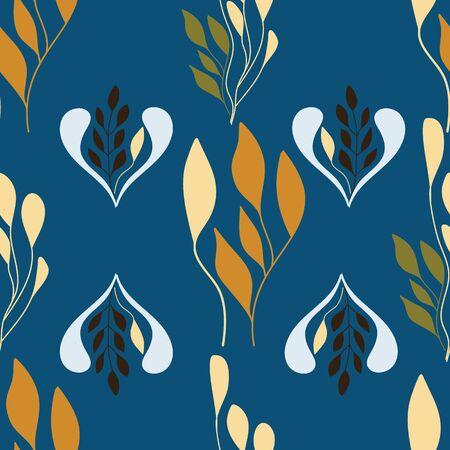 Folk leaves art design on blue background. Illustration