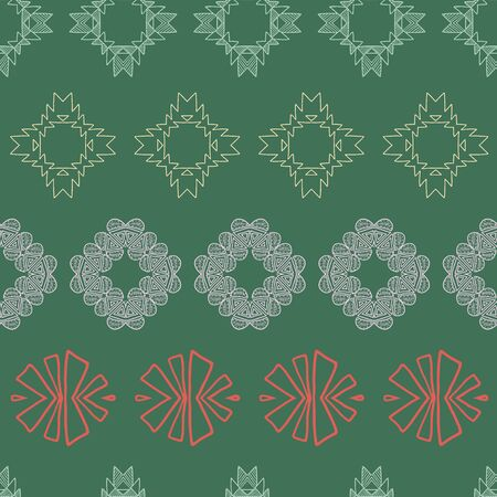 Red, green and pink tribal abstract with a Christmas vibe seamless pattern. Great for folk modern wallpaper, backgrounds, invitations, packaging design projects, scrapbooking. Surface pattern design.