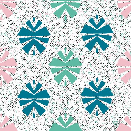 Green and pink tribal abstract seamless pattern on textured background. Ilustrace