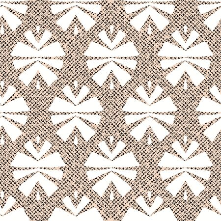 White tribal abstract seamless pattern on textured background. Ilustrace