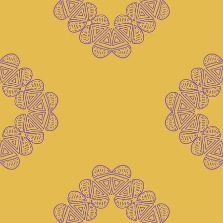 Purple and gold tribal abstract seamless pattern. Great for folk modern wallpaper, backgrounds, invitations, packaging design projects, scrapbooking. Surface pattern design.