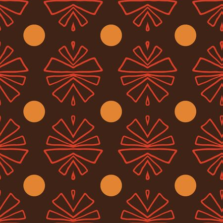 Red and orange tribal abstract seamless pattern on brown background. Great for folk modern wallpaper, backgrounds, invitations, packaging design projects, scrapbooking. Surface pattern design.