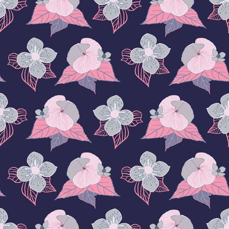 Stylized pink and grey flowers on navy blue background seamless repeat vector. Sketched design great for textiles,garden products, home decor. Seamless pattern