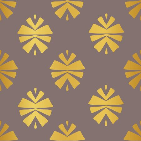 Gold tribal abstract seamless pattern on brown background. Great for folk modern wallpaper, backgrounds, invitations, packaging design projects, scrapbooking. Surface pattern design.