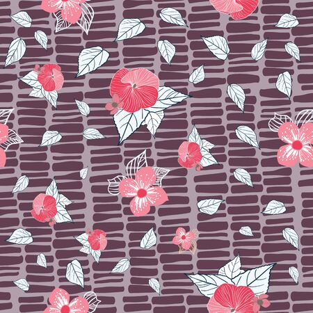 Stylized red flowers with navy accents on textured plum background seamless repeat vector.