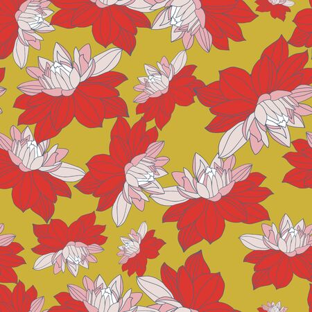 Pretty floral seamless pattern design with pink and red dahlias.