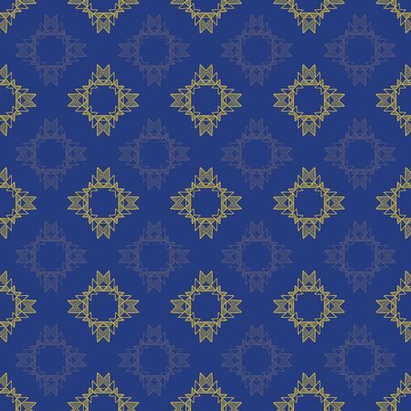 Blue and gold tribal abstract seamless pattern.