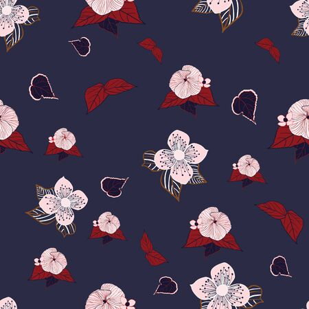 Stylized pink and red flowers on navy background seamless repeat vector. Illustration