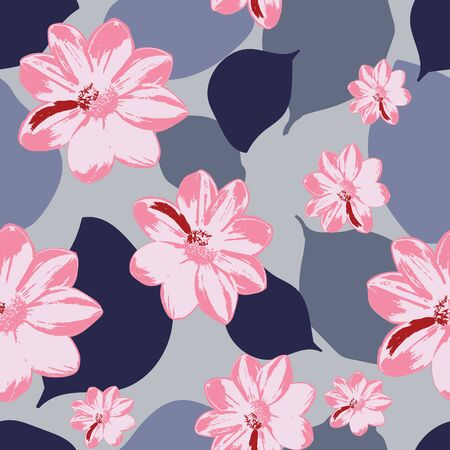 Bold and dynamic flowers seamless pattern design in eye-catching colors. Illustration