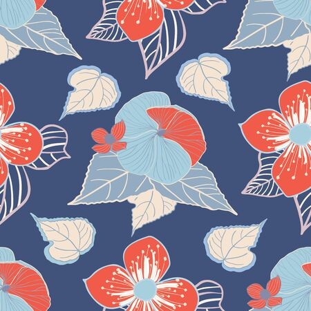 Stylized blue and coral flowers on dark blue background seamless repeat vector. Illustration