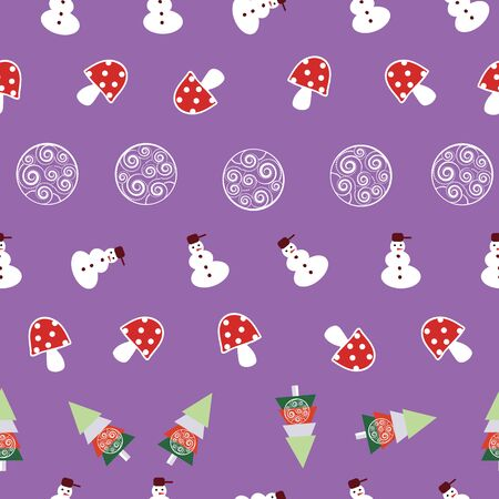 Traditional Christmas Vector Seamless Repeat Hand Drawn. Illustration