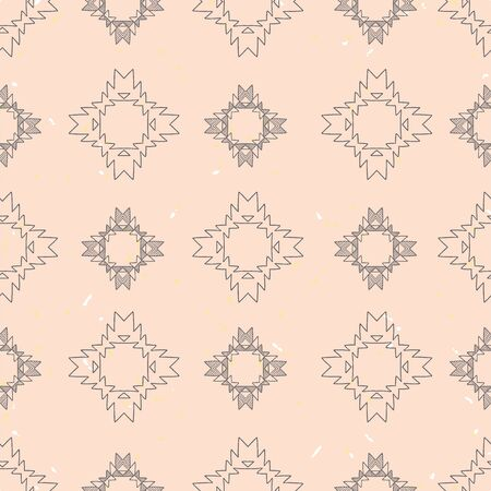 Grey tribal abstract on pink textured background seamless pattern.