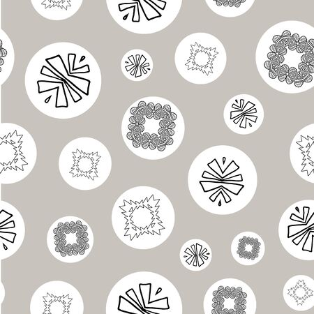 Silver, black and white tribal abstract seamless pattern. Illustration