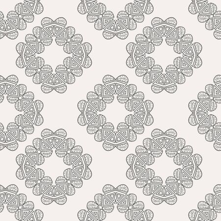 Cream and black tribal abstract seamless pattern.
