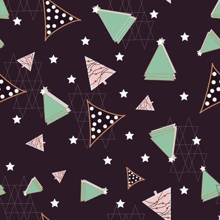 Green, pink and navy stars and triangles on navy background. seamless repeat.