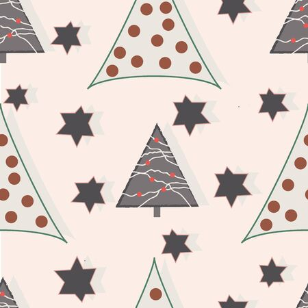 Grey stars and triangles on cream background Christmas seamless repeat. Illustration