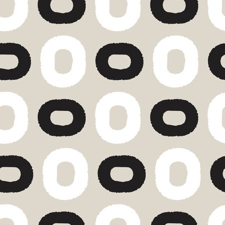 Black and white ovals on greige background seamless pattern.