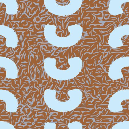 Baby blue circular marks on brown and blue textured background seamless pattern. Illustration