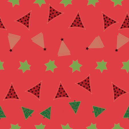 Green, pink and salmon pink stars and triangles on coral background seamless repeat.