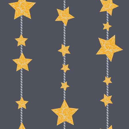 Gold stars with branches on dark grey background seamless pattern. Illustration