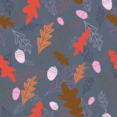 Hand drawn leaves and acorns in fall colors seameless repeat. Illustration