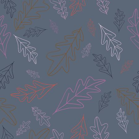 Hand drawn leaves in fall colors seameless repeat.