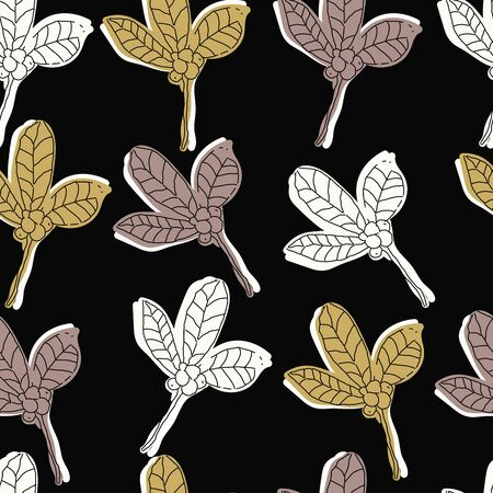 White, brown and mustard berries and leaves on black background seamless repeat. Illustration
