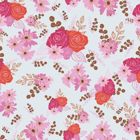 Stylized red, pink and brown flowers and berries on light blue background.