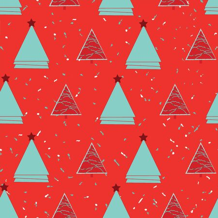Red and blue triangles and Christmas trees on bright red background seamless repeat.