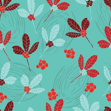 Red and blue berries and leaves on teal background seamless repeat.