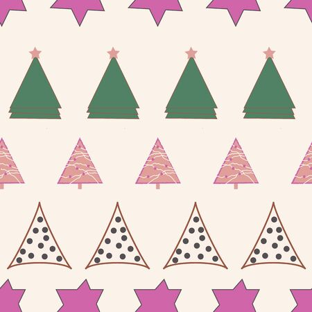 Green and pink stars and Christmas trees on creme background seamless repeat. Illustration