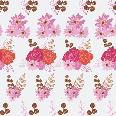 Stylized red, pink and orange flowers and berries on off-white background. Illustration
