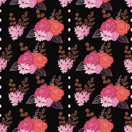 Stylized red, pink and orange roses and berries on dark background seamless repeat..