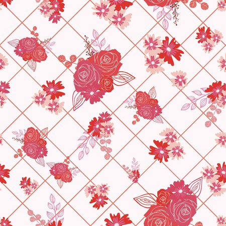 Stylized red and pink roses and berries on diamond textured background seamless repeat.