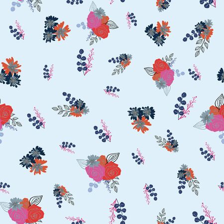 Stylized red, pink and orange flowers and berries on light blue background. Illustration