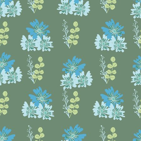 Stylized blue flowers and berries on green background seamless repeat.