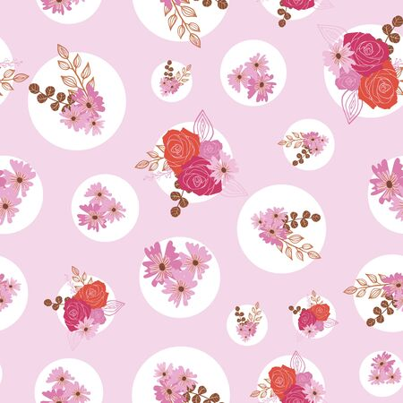 Stylized roses, flowers and berries in shades of pink seamless repeat. Illustration