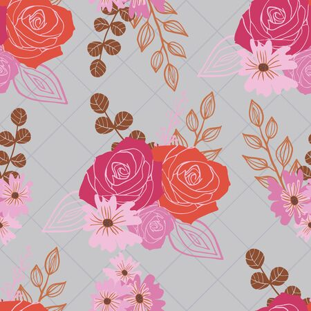 Stylized red, pink and orange flowers and berries on grey background.