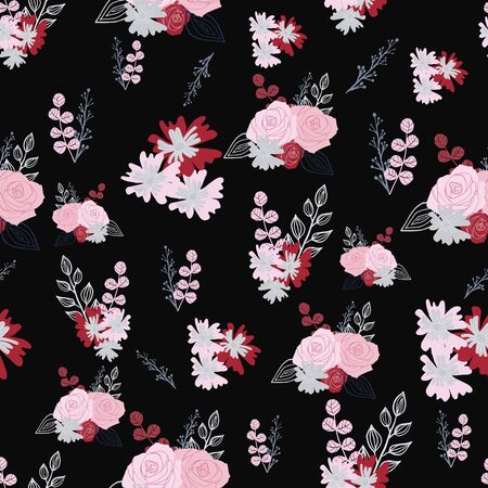 Stylized red, pink and grey flowers and berries on dark blue background.