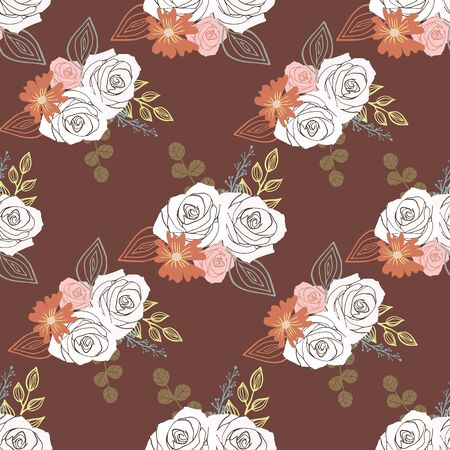 Stylized white, pink and brown flowers and berries on brown background. Illustration