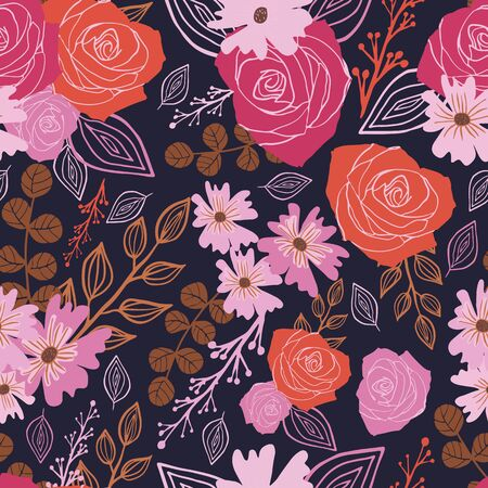 Stylized red, pink and brown flowers and berries on indigo background.