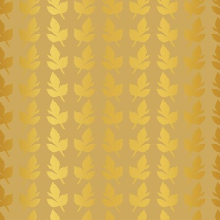 Vertical rows of gold leaves on yellow background. Illustration