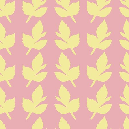 Vertical rows of yellow leaves on pink background.