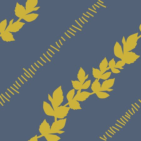 Diagonal rows of mustard leaves and linear marks on grey background.