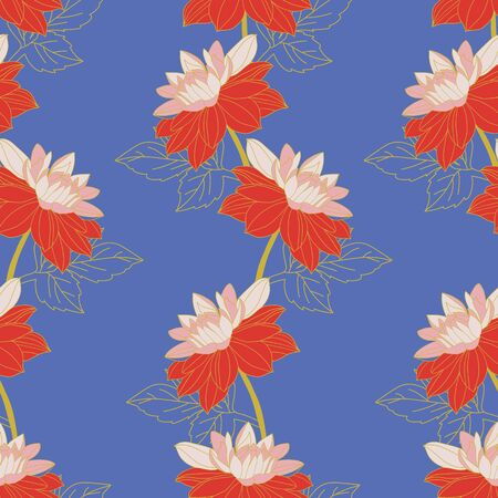 Vertical rows of red and pink dahlias on bright blue background.