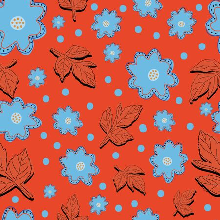 Blue and red flowers and leaves on bright red background.